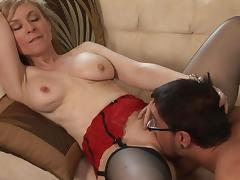 Dane Cross fucks with pornstar Nina Hartley tube porn video