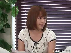 Naughty Riko Honda fingers her vagina in a locker room