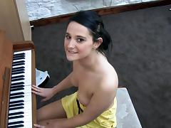Awesome babe Elise is playing on piano tube porn video