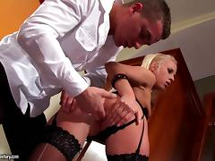 Hot Blonde In Stockings Gets Fucked