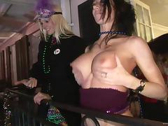 Hot Babes Flashing Their Big Fake Tits In Mardi Gras