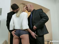 Blonde Sales Assistant Fucked In MMF Threesome