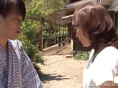 Naughty Hisae Yabe gets fucked by a guy in a kimono