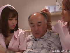Asian nurses have a threesome with an old patient