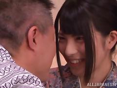 Kimono clad Asian teen Ai Uehara gets hardcore action tube porn video