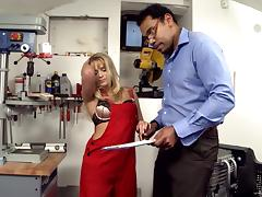 Voracious light-haired tart shows her boss really sucking skills