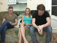 A Stranger Fucks This Amateur Teen on Her Boyfriend's Lap
