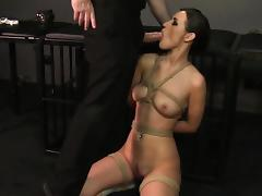 Blowjob BDSM throat sucking and fucking leads to facial