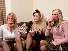 Blonde moms share a cock and get cum on their big tits
