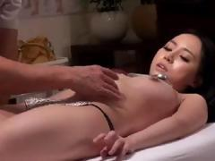 Asian cutie getting a massage and then fingered and fucked