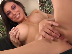 Busty brunette seductress gets hammered in MMF threesome