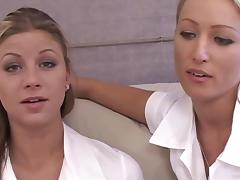Pretty Lesbian With Long, Blonde Hair Getting Her Shaved Pussy Licked