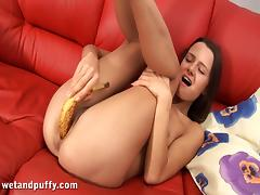 Sweet Stela Inserts A Banana Inside Her Pussy Sitting On A Couch tube porn video