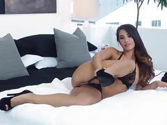 Stunning solo video of Eva Lovia fingering her shaved pussy