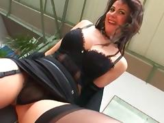 Sexy brunette is getting cock in her anal