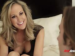 Brandi Love gives a guy a footjob before being fucked