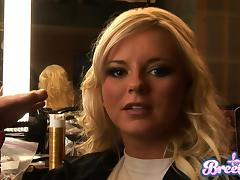 Two divine girls Isis Taylor and Bree Olson in a backstage scene porn tube video