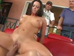 Tanned chick is getting sperm