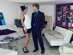Pretty Young Maid With Massive Fake Tits Enjoying A Missionary Style Fuck