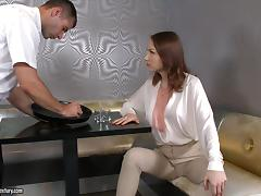 Macy ends up with a mouthful of semen after being fucked