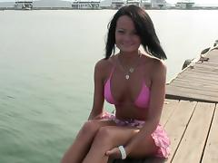 Tattooed busty brunette Tiffany Merlot gets nailed on the boat