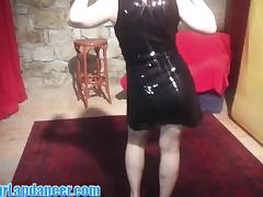 Sexy beginner lapdances in glittering dress