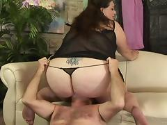 Fat brunette Angelina sucks a prick and welcomes it in her meaty twat