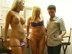 Flower Tucci and Courtney Cummz work on a lucky man's weiner