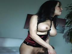 Zesty brunette bitch blows juicy cock and gets it inside