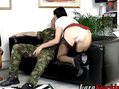 Soldier has a long hard dick for a slut porn tube video