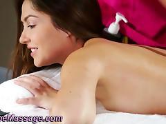 Lesbian masseuse rubs ass