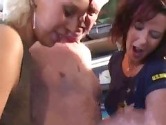 Two girls play with old man