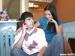 Skinny brunette whore from Russia gets fucked on the couch