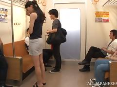 Cute Brunette Goes Hardcore With Several Men In A Public Bus