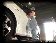 Horny garage workers fuck in the car they are fixing