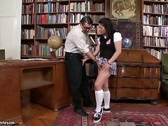 Connie enjoys upskirt doggy style banging on a coffee table