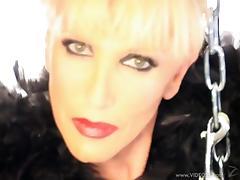 Short-haired blondie Mistress Alexandra loves to dominate men