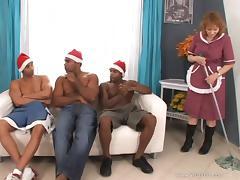 Mature janitor Izida enjoys hot interracial gangbang indoors