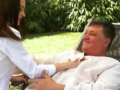 Charming brunette lassie Ashley Woods gets banged outdoors