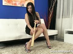 Brunette Slut Shoving A Baseball Bat Up Her Hot Pussy