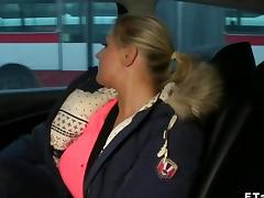 Huge tits blonde fucks in the cab real hard