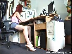 Sizzling Young Redhead Licking And Sucking An Older Man's Cock In His Office
