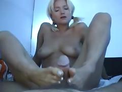 Naked Beach - Pigtail Blonde - Camp Foot & Cook Jerking