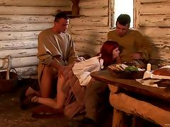 Hardcore MMF Threesome as a Redhead Gets Double Teamed