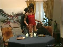 Ebony Amatuer is Banged Doggystyle In A Steamy Threesome
