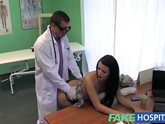 stiff neck followed by a big stiff cock as fucked on doctors desk