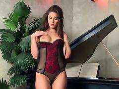 Slutty Chick In Naughty Lingerie Strips Next To The Piano tube porn video