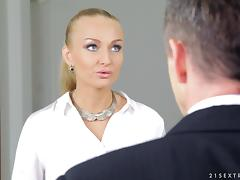 Tattooed blonde secretary Kayla Green gets fucked by visitor