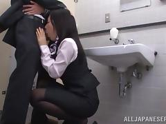 Japanese Flight Attendant Gives a Blowjob in the Bathroom