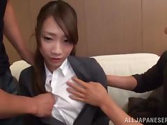 Japanese Hottie Gets A Big Cumshot In A Nasty MMF Threesome tube porn video
